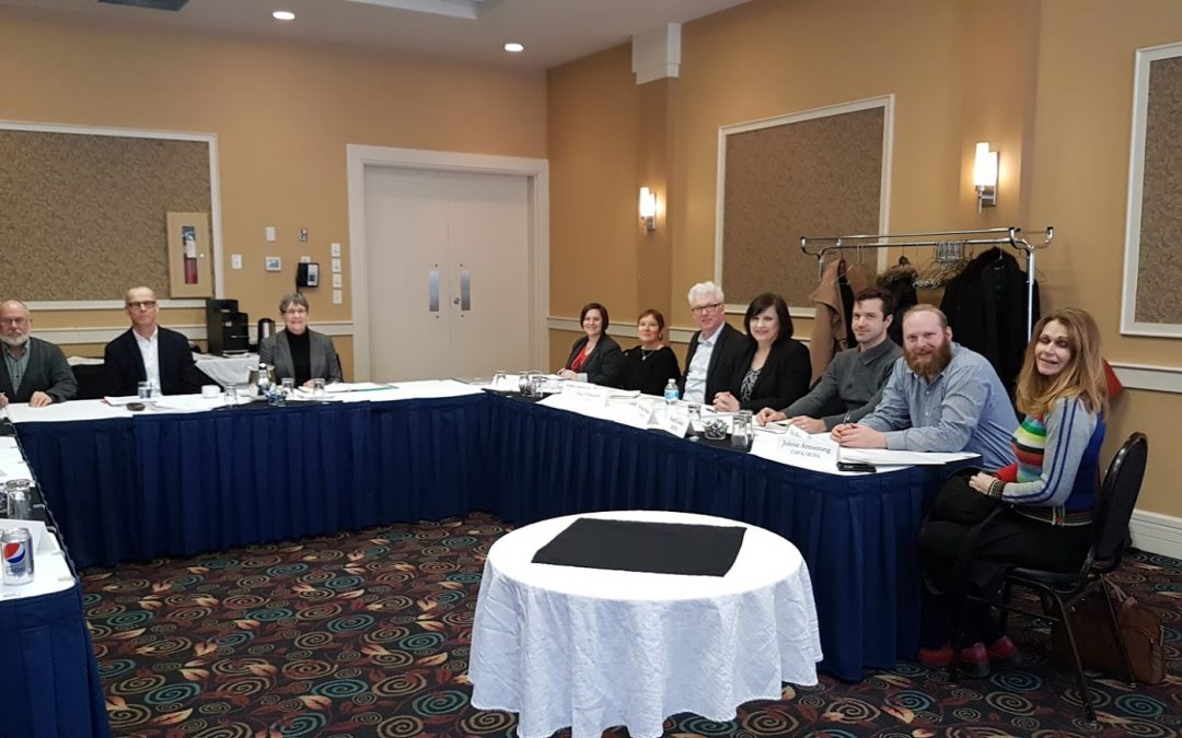 Essential Services Commissioner Gwen Gray and Director of Mediation Services Don Mitchell meet with Faculty Association representatives from U of L, U of A, U of C, and Athabasca